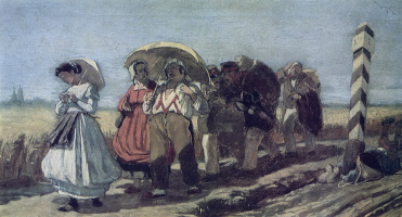 Vasily Grigorievich Perov. Quarterly travel with the family on a pilgrimage. Sketch