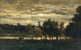 Шарль-Франсуа Добиньи. Река в облачный день
