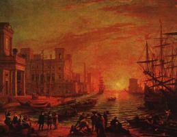 Клод Лоррен. Морской порт на закате