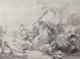 """Rembrandt Harmenszoon van Rijn. The so-called """"Big hunt lions"""""""
