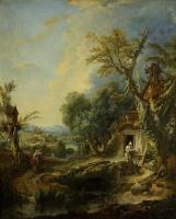 Франсуа Буше. Пейзаж с отшельником. Брат Люс