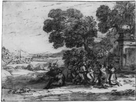 Клод Лоррен. Пейзаж со сценой поклонения золотому тельцу