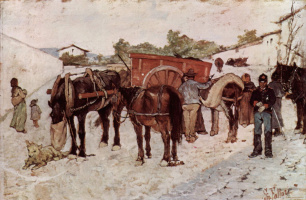 Giovanni Fattori. Soldiers and peasants in the village street