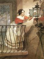 Карл Павлович Брюллов. Итальянка, зажигающая лампаду перед образом мадонны