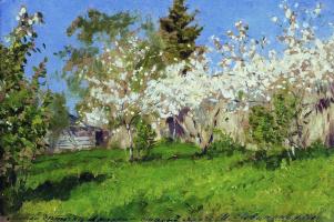 Isaac Levitan. Blooming Apple trees