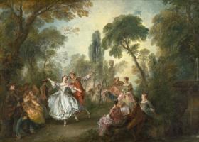 Николя Ланкре. Галантное празднество с танцовщицей Камарго