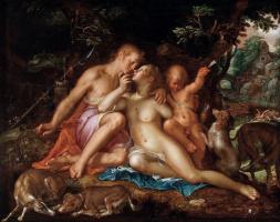 Франц ван Мирис Старший. Венера и Адонис