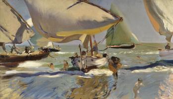Joaquin Sorolla. Boats on the shore
