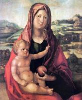Альбрехт Дюрер. Мария с младенцем на фоне пейзажа