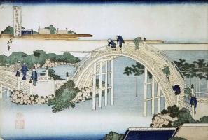 Katsushika Hokusai. Bridge temple Kameido Tenjin