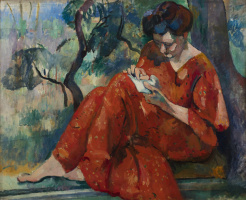 Henri Manguin. Cousin Jeanne in a red dress