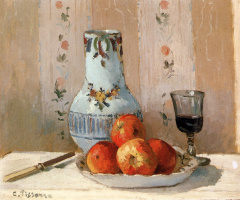 Camille Pissarro. Still life with apples and pitcher