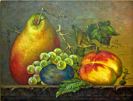 Sergey Bychkov. Composition with fruit, pear, plum, grapes, peach