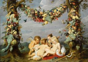 Гирлянда из фруктов с играющими младенцами
