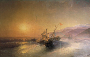 Ivan Aivazovsky. The capture of Russian sailors of the Turkish boats and the release of prisoners of Caucasian women