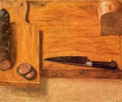 Авигдор Ариха. Разделочная доска с колбасой и нож