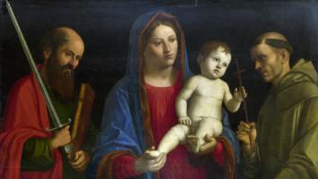 Джованни Баттиста Чима да Конельяно. Дева с младенцем, святым Павлом и святым Франциском