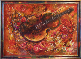 Наталья Жданова. Картина со скрипкой натюрморт с розами