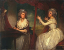 George Romney. Lady Caroline Spencer, later Viscountess Clifden, and her sister, Lady Elizabeth Spencer