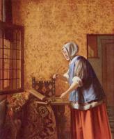 Питер де Хох. Женщина, взвешивающая золото