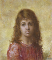 Алексей Алексеевич Харламов. Портрет девушки на желтом фоне.