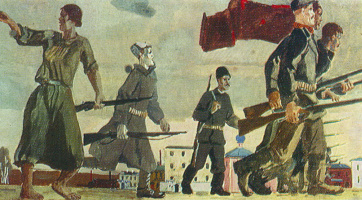 Alexander Alexandrovich Deineka. The uprising of 1905. Sketch for the painting of the VSHV