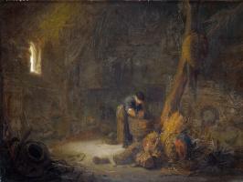 Ван Остаде Йсакк. Интерьер сарай с двуми крестьянинами