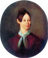 Василий Кузьмич Шебуев. Портрет неизвестной в коричневом платье