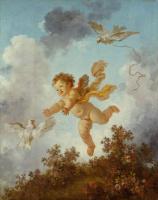 """Жан Оноре Фрагонар. Амур, преследующий голубя. Из живописной серии """"Любовные приключения"""""""