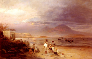Oswald Achenbach. Fishermen in the Bay of Naples