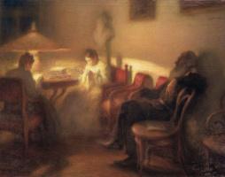 Леонид Осипович Пастернак. Л.Н. Толстой с семьей в Ясной Поляне. 1902