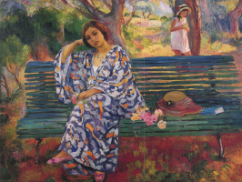 Henri Lebasque. Young woman sitting on the bench
