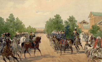 Mikhail Alexandrovich Zichy. Alexander II, taking the parade of 1865.