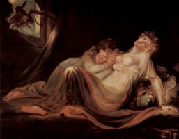 Иоганн Генрих Фюссли. Две спящие девушки просыпаются от кошмарного сна