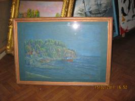 Ольга Евгеньевна Климова. Побережье Черного моря карандаши цветные