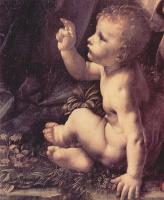 Леонардо да Винчи. Мадонна в гроте, сцена: Мария с младенцем Христом, младенецем Иоанном Крестителем и ангелом, деталь: Иоанн Креститель