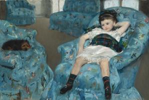 Mary Cassatt. Little girl in a blue armchair