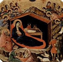 Дуччо ди Буонинсенья. Маэста, алтарь сиенского кафедрального собора, передняя сторона, пределла со сценами из детства Иисуса и пророками, Рождество Хр