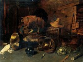 Давид Рейкарт. Сельский интерьер с бочкой, медными сосудами, корзиами, овощами и шляпой