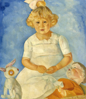 Борис Дмитриевич Григорьев. Портрет девочки с куклами. 1920