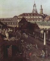 Джованни Антонио Каналь (Каналетто). Крепостные укрепления Дрездена, крепостной ров с мостом, фрагмент