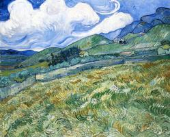 Винсент Ван Гог. Пшеничное поле с горами на заднем плане