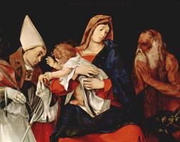 Лоренцо Лотто. Мадонна со святым епископом и св. Онуфрием