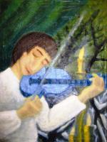 Andrey Victorovich Schekutev. THE BOY WITH THE BLUE VIOLIN.canvas oil