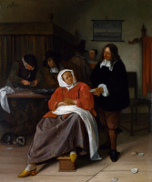 Ян Стен. Мужчина, предлагающий женщине устрицу