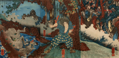 Utagawa Kuniyoshi. Triptych: Horio Asigaru fights with a giant boar