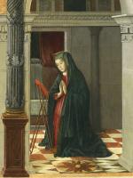 Gentile Bellini. Annunciation. Fragment. Mary in Prayer