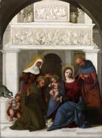 Лодовико Маззолино. Святое семейство со святым Франциском