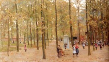 Антон Мауве. Парк в Ларене с играющими детьми