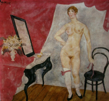 """""""At the mirror. The sketch for the painting. Option 2"""" 1915"""